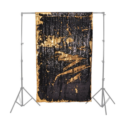 Unique Creative Glamorous Sequin Backdrops 2.6X4M Black and Gold Background