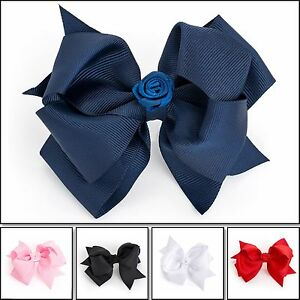 GIRLS-SCHOOL-HAIR-BOW-GIRLS-CLIPS-KIDS-SCHOOL-RIBBON-BOW-SLIDES-ACCESSORY-BOW-UK