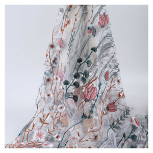 3D Embroidery Floral Lace Fabric Sheer Mesh Flower Wedding Dress Craft 100 130CM