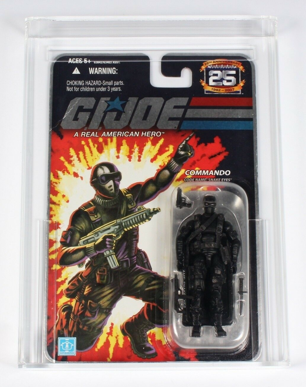 2008 Hasbro G.I. Joe Snake Eyes Action Figure 25th Anniversary Nuovo Graded 80+