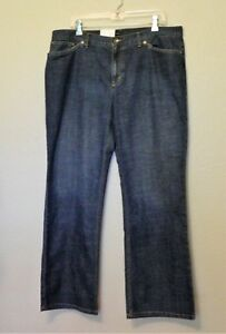 Jones-New-York-Sport-Jeans-18-Blue-Dark-Wash-Stretch-Flare-Leg-Cotton-Blend-NEW
