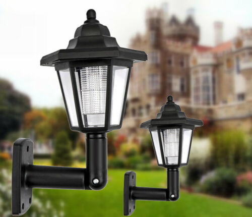 Solar Hexagonal LED Wall Sconce 2 Pack Outdoor Solar Porch Sensor Night Lighting