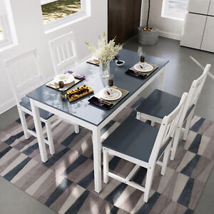 Modern Dining Table And 4 Chairs Set Kitchen Solid Wooden Furniture Home Grey Ebay