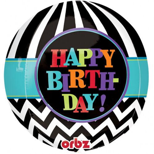 """Esfera de 16/"""" Feliz Cumpleaños Chevron Aluminio Globo De Helio Fiesta de diseño del lado 4"""