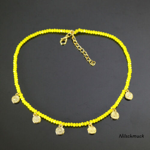 mosquetón Señora solar amarillo vaso de cristal perlas collar con monedas de oro
