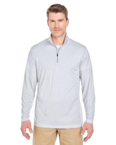 8235 UltraClub Mens Striped 1//4-Zip Pullover