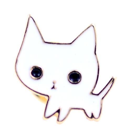 Broche épingle à chat superbe en or et en chat blanc
