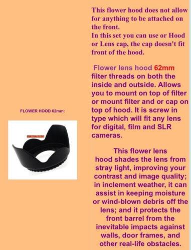 FLOWER HOOD+UV FILTER LENS CAP 52mm to Panasonic DMC-G1 GX-1S 18-55 55-200