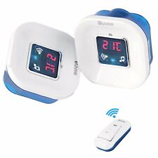 A7A ALARM CLOCK WIRELESS DOORBELL Portable Chime CORDLESS DIGITAL Thermometer