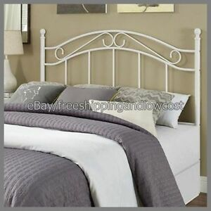 headboard bed bedroom frame furniture traditional metal white full queen size. Black Bedroom Furniture Sets. Home Design Ideas