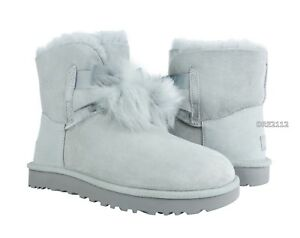 UGG Gita Grey Violet Suede Fur Pom Pom Boots Womens Size 11  NIB ... 3112e6732