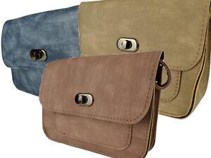 Tasche-Dame-Handtasche-klein-Schultergurt-braun-taupe-blau-PU-Leder-Umhaengetasch