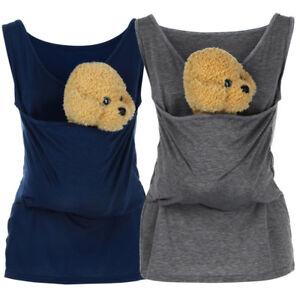 Mens-Womens-Kangaroo-Parents-Child-Vest-Tops-T-Shirt-Baby-Multifunction-T-shirt
