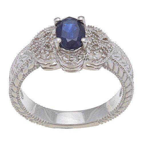 1.25ct Ct Stile Vintage Vintage Vintage Originale Zaffiro Diamante Anello in argentoo Sterling 0a8ec7