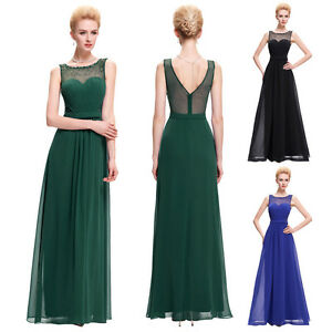 Elegant chiffon bridesmaids dress long prom evening for Wedding guest dresses size 20