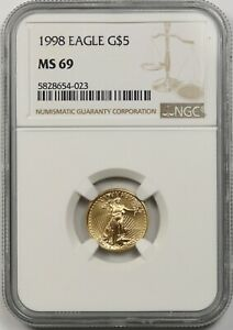 1998 Gold Eagle $5 NGC MS 69 Tenth-Ounce 1/10 oz Fine Gold