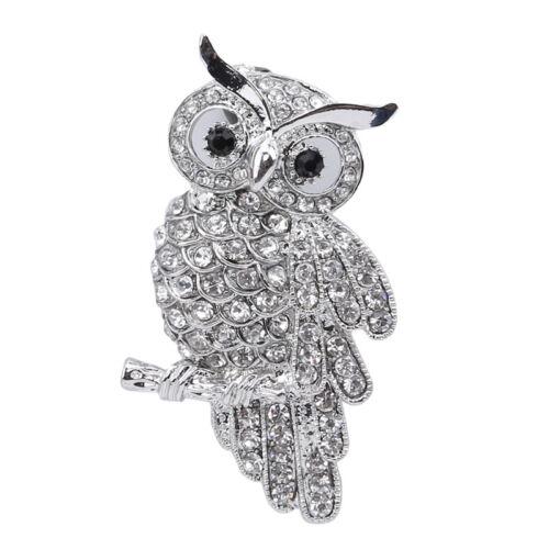 Owl Brooch Brooch Full Fxau Diamante Rhinestone Crystal Enamel Pin Badge 6A