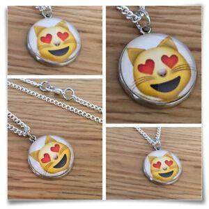 Emoji face smile happy LOve heart cat Charm pendant necklace txt geek