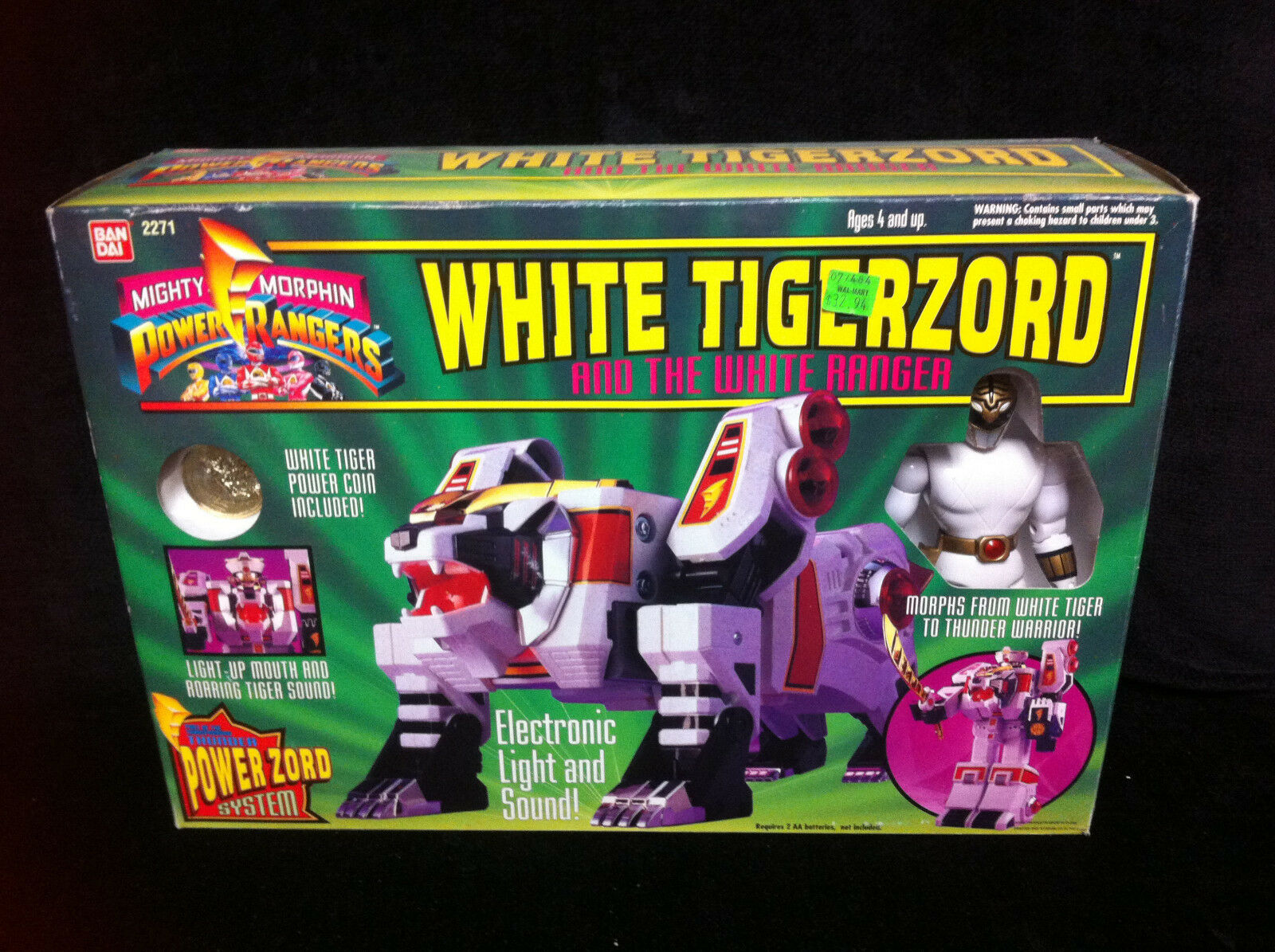 BOXED Mighty Morphin Power Rangers 1993 Weiß TIGERZORD w/ Ranger Bandai