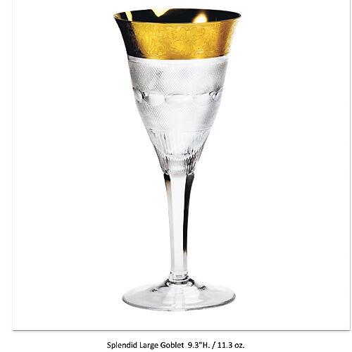 SPLENDID Crystal Moser Large Goblet 9.3 NEW NEVER USED Czech Republic SET OF 6