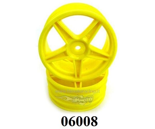 06008y Cerchi Gialli Wheel Rim Yellow 1:10 Buggy 2pz Esagono Int.12mm Himoto à Tout Prix