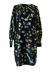 H-amp-M-Black-Floral-Shift-Dress-Button-Up-Cuffs-Knee-Length-Long-Sleeves-Size-12