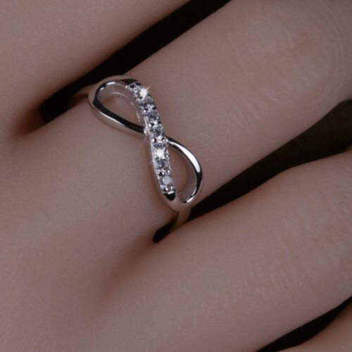 Solid 925 Sterling Silver Infinity Ring with Crystal