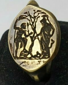 Poseidon-and-Athens-Ancient-Bronze-Ring-Vintage-Antique-ROMAN-RARE