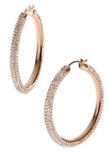 65d121c02d5fc Details about MICHAEL KORS MKJ2083791 BRILLIANCE Rose Gold Crystals Hoop  Earrings MKJ2083