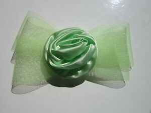 Green-FASCINATOR-Bow-Netting-Satin-Rosette-by-Juelz-Wedding-Prom-48A