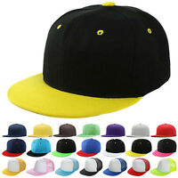 Plain Snapback Hat Caps Flat Peak Funky SP Retro Baseball Vintage Hip Hop Cap AA
