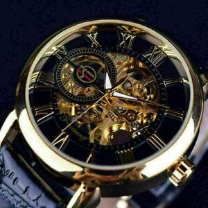 Neu-Skelett-Herrenuhr-Edelstahl-Uhr-Geschenk-Automatik-Armbanduhren-Mechani-X4F7