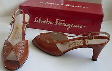SALVATORE FERRAGAMO Designer Brown Tan Leather Sandals Size US 8.5 C UK 6 EU 39
