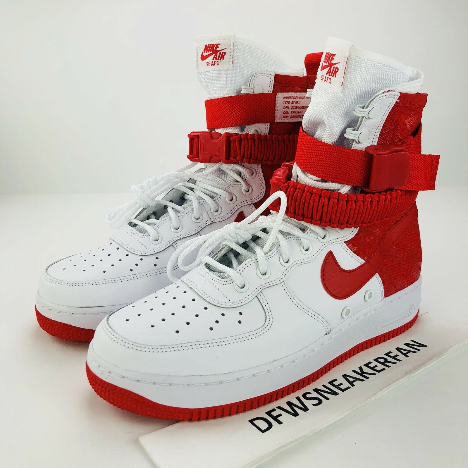 Nike Air Force 1 Special Forces SF Men's Size 10 White Red Sneakers AR1955-100