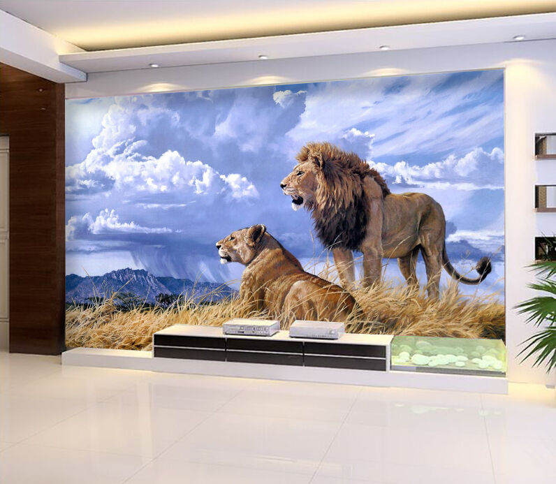 3D Animal Lion Couple 1682 Paper Wall Print Wall Decal Wall Deco Indoor Murals