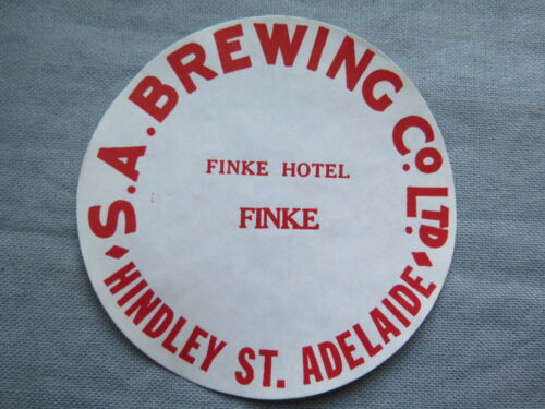 SA BREWING Co Ltd FINKE HOTEL BEER KEG LABEL c1970s NTH TERR & SOUTH AUSTRALIA