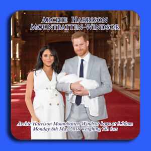Windsor Royal Baby Harry /& Meghan Coaster Archie Harrison Mountbatten