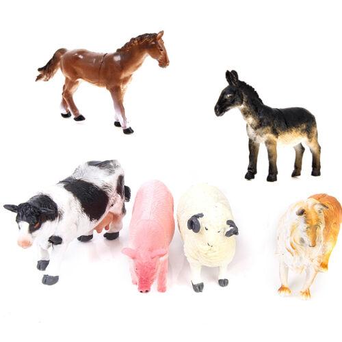 6pcs Kids Farm Animal Model Figure Set Pig Dog Cow Sheep Horse Donkey Toy