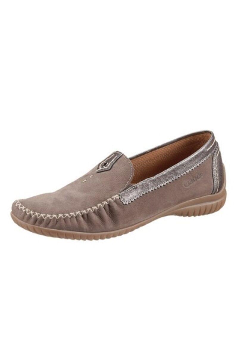 Gabor PELLE SLIPPER mezza scarpa ballerina mokkassin MIS. 8 - 9 taupe (057) NUOVO