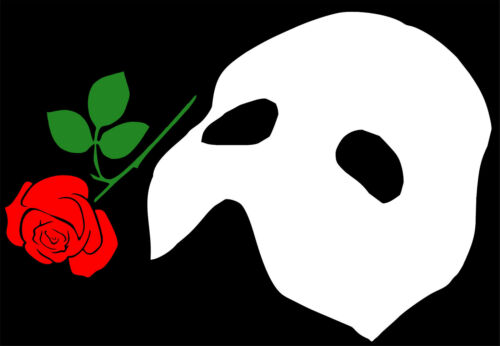 "Phantom of the Opera Mask White Vinyl with Red Rose 8/"" x 11.9/"""