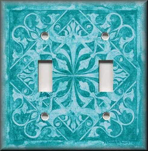 Metal Light Switch Plate Cover - Home Decor Tuscan Tile Pattern Turquoise Blue