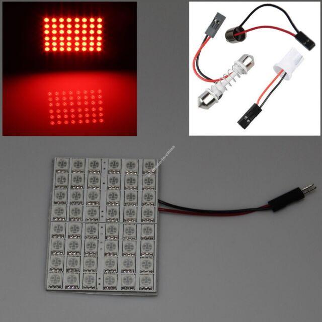 Red 48 5050 SMD Box Door Dome Car LED Light Panel Interior T10 Festoon Ba9s 12V