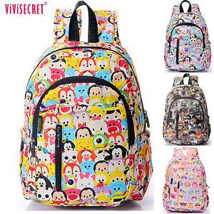 Image is loading Womens-Girls-Boys-Kids-Waterproof-School-bag-Cartoon- 97bf354752