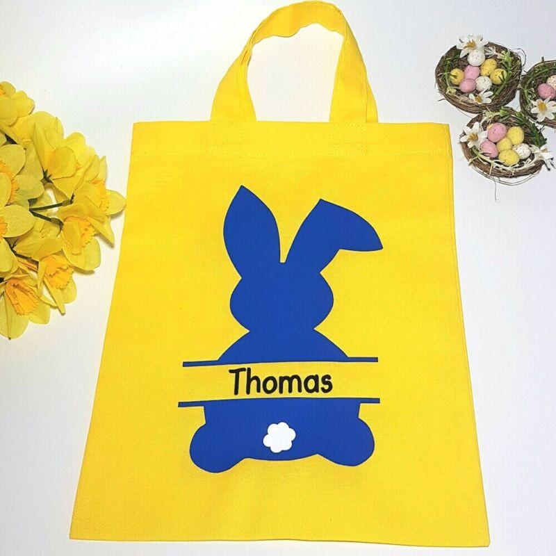 Bolsa De Regalo Personalizado Pascua Cacería De Huevos Tratar Bolsa Primera Pascua Conejo Rosa O Azul