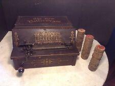 Circa 1897 Antique GEM Roller Organ Music Box Player w/3 Music Cobs