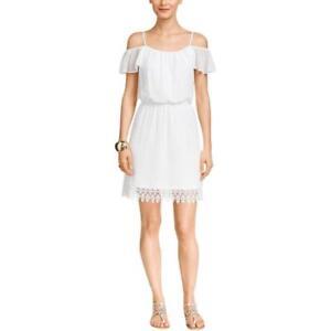 43a8501e0c6 Thalia Sodi White Off-The-Shoulder Chiffon Lined Blouson Dress Size ...