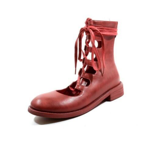 Women Gladiator Lace Up Hollow Block Low Heel Round Toe Mid Calf Boots Oxfords