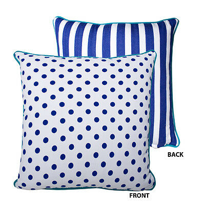 Alexa Reversible Cushion Cover dark blue spots and stripes, green piping