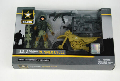 Army Runner Cycle Action Figure With Motorcycle And Weapons by Excite NEW U.S