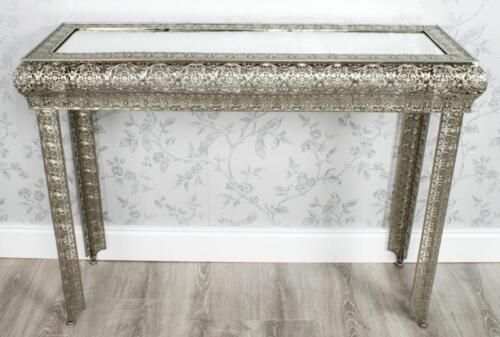 METALLIC SILVER MOROCCAN EMBOSSED METAL GLASS CONSOLE SIDE HALL TABLE